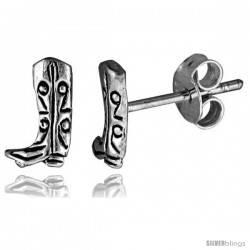 Tiny Sterling Silver Boot Stud Earrings 5/16 in -Style Es288