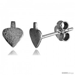 Tiny Sterling Silver Spade Stud Earrings 5/16 in