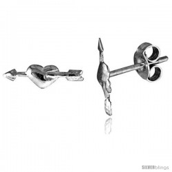 Tiny Sterling Silver Heart w/ Arrow Stud Earrings 3/8 in -Style Es290
