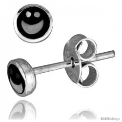 Tiny Sterling Silver Happy Face Stud Earrings 3/16 in