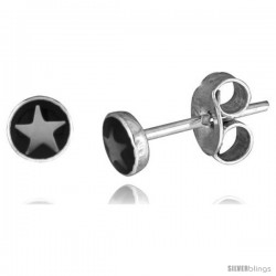 Tiny Sterling Silver Star Stud Earrings 3/16 in