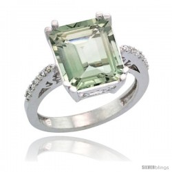 Sterling Silver Diamond Green-Amethyst Ring 5.83 ct Emerald Shape 12x10 Stone 1/2 in wide