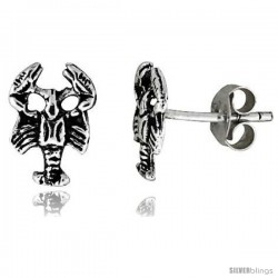 Tiny Sterling Silver Scorpion Stud Earrings 3/8 in