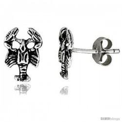 Tiny Sterling Silver Scorpion Stud Earrings 3/8 in