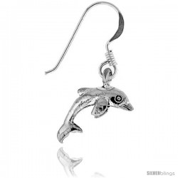 Tiny Sterling Silver Dolphin Dangle Earrings 5/8 in