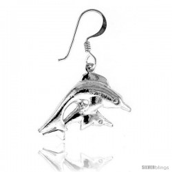 Tiny Sterling Silver Dolphin Dangle Earrings 15/16 in