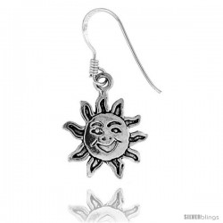 Tiny Sterling Silver Sun Dangle Earrings 11/16 in