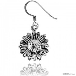 Tiny Sterling Silver Sunflower Dangle Earrings 9/16 in