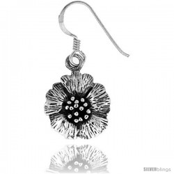 Tiny Sterling Silver Flower Dangle Earrings 5/8 in