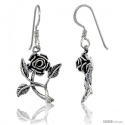 Sterling Silver Rose Flower Dangle Hook Earrings 1 1/4 in(31 mm) tall