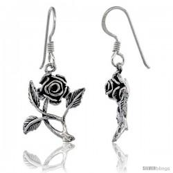 Sterling Silver Rose Flower Dangle Hook Earrings 1 1/4 in(31 mm) tall