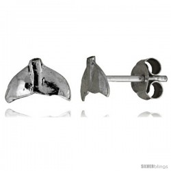 Tiny Sterling Silver Whale's Tail Stud Earrings 3/8 in
