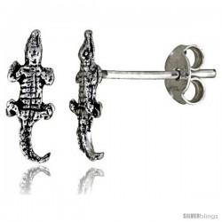 Tiny Sterling Silver Crocodile Stud Earrings 7/16 in