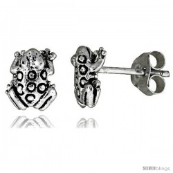 Tiny Sterling Silver Frog Stud Earrings 3/8 in