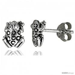 Tiny Sterling Silver Frog Stud Earrings 3/8 in