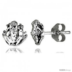 Tiny Sterling Silver Frog Stud Earrings 5/16 in -Style Es34