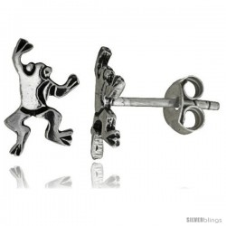 Tiny Sterling Silver Frog Stud Earrings 1/2 in -Style Es36