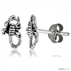 Tiny Sterling Silver Scorpion Stud Earrings 3/8 in -Style Es4