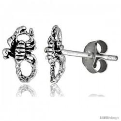 Tiny Sterling Silver Scorpion Stud Earrings 3/8 in -Style Es4