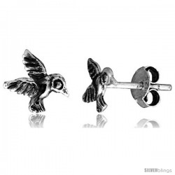 Tiny Sterling Silver Hummingbird Stud Earrings 5/16 in
