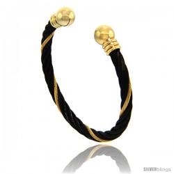 Stainless Steel Cable Golf Bracelet Black & Gold 2-Tone Ball Ends, 7 in