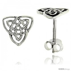 Sterling Silver Triquetra Celtic Trinity Knot Stud Earrings, 1/2 in