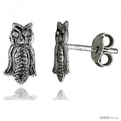 Tiny Sterling Silver Owl Stud Earrings 3/8 in