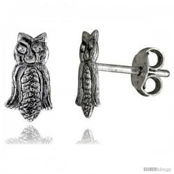Tiny Sterling Silver Owl Stud Earrings 3/8 in