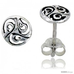 Sterling Silver Triskelion Celtic Symbol Stud Earrings, 1/4 in