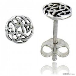 Sterling Silver Celtic Knot Stud Earrings, 1/4 in -Style Es413