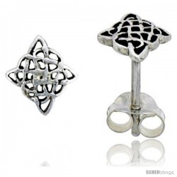 Sterling Silver Diamond-shaped Celtic Knot Stud Earrings, 1/4 in
