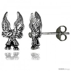 Tiny Sterling Silver Eagle Stud Earrings 9/16 in