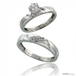 10k White Gold Diamond Engagement Rings 2-Piece Set for Men and Women 0.08 cttw Brilliant Cut, 4mm & 4.5mm wide