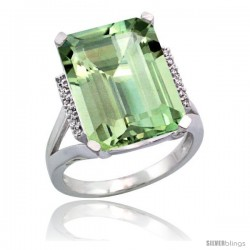 Sterling Silver Diamond Green-Amethyst Ring 12 ct Natural Emerald Cut 16x12 stone 3/4 in wide