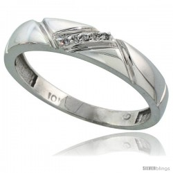 10k White Gold Mens Diamond Wedding Band Ring 0.03 cttw Brilliant Cut, 3/16 in wide -Style 10w012mb