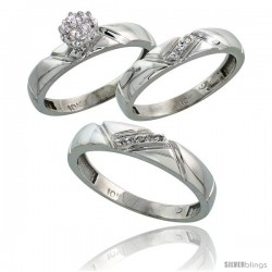 10k White Gold Diamond Trio Engagement Wedding Ring 3-piece Set for Him & Her 4.5 mm & 4 mm wide 0.10 cttw Brilliant Cut