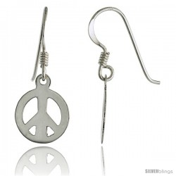 Sterling Silver Peace Sign Dangle Earrings 7/16 in wide