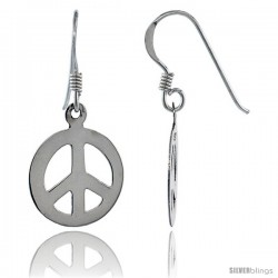 Sterling Silver Peace Sign Dangle Earrings, 9/16 in wide
