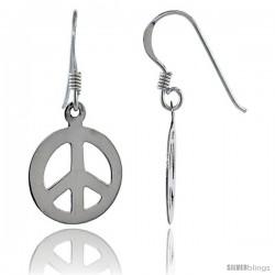 Sterling Silver Peace Sign Dangle Earrings, 9/16 in wide