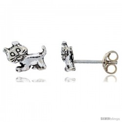 Sterling Silver Tiny Cat Stud Earrings, 3/8 in wide