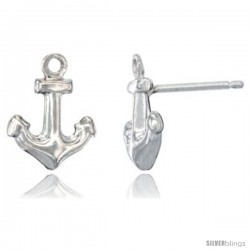 Sterling Silver Tiny Anchor Stud Earrings, 1/2 intall