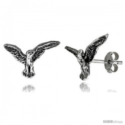 Tiny Sterling Silver Eagle Stud Earrings 9/16 in -Style Es44