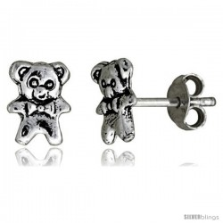 Tiny Sterling Silver Bear Stud Earrings 5/16 in