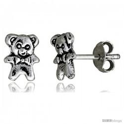 Tiny Sterling Silver Bear Stud Earrings 5/16 in