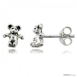 Tiny Sterling Silver Bear Stud Earrings 5/16 in -Style Es46
