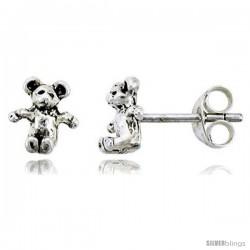 Tiny Sterling Silver Bear Stud Earrings 5/16 in -Style Es46