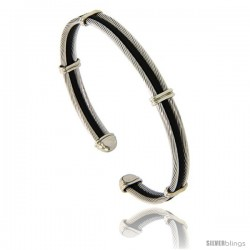 Stainless Steel & Rubber Cable Golf Bracelet, 7 in