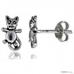Tiny Sterling Silver Cat Stud Earrings 3/8 in