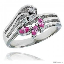 Sterling Silver & Rhodium Plated Freeform Ring, w/ Three 4 x 2 mm Marquise Cut & Three 2mm Round High Quality CZ's, 1/2""