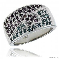 "Sterling Silver & Rhodium Plated Dome Heart Band, w/ Tiny High Quality CZ's (22 Blue Topaz, 36 Amethyst), 7/16"" (12 mm) wide"